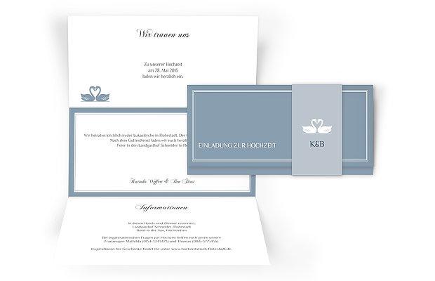 Hochzeitseinladung Schwäne