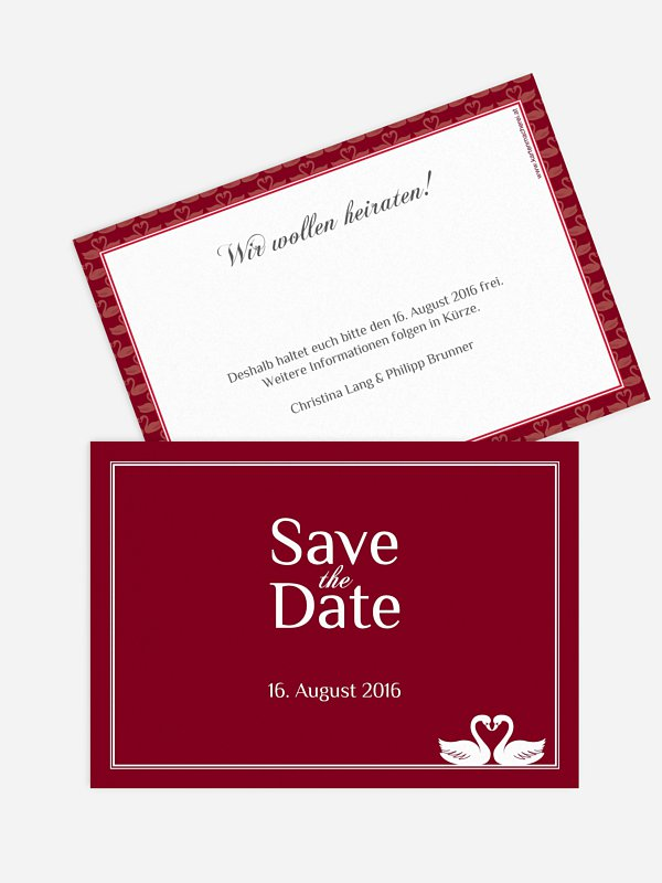 Save-the-Date Karte Schwäne