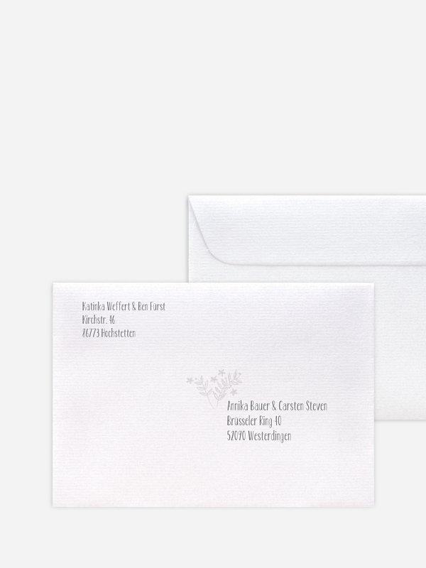 Bedruckter Briefumschlag Hochzeit Fleur