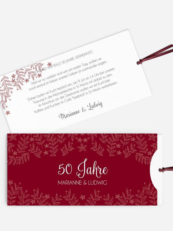 Einladung zur Goldenen Hochzeit Fleur