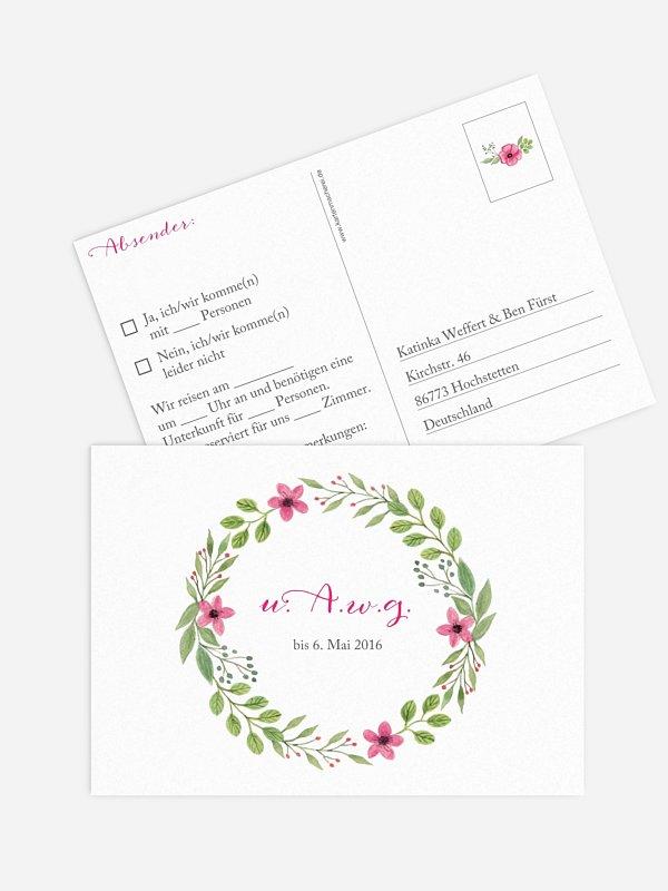 Antwortkarte Hochzeit Floral