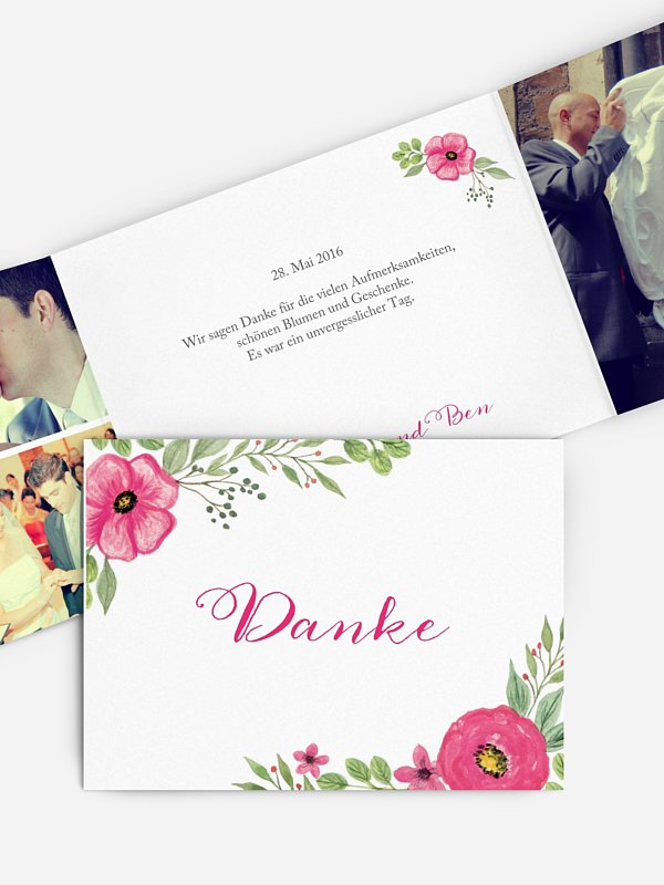Dankeskarte Hochzeit Floral