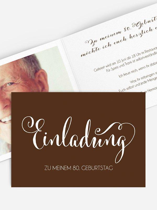 Einladung 80. Geburtstag Schreibschrift