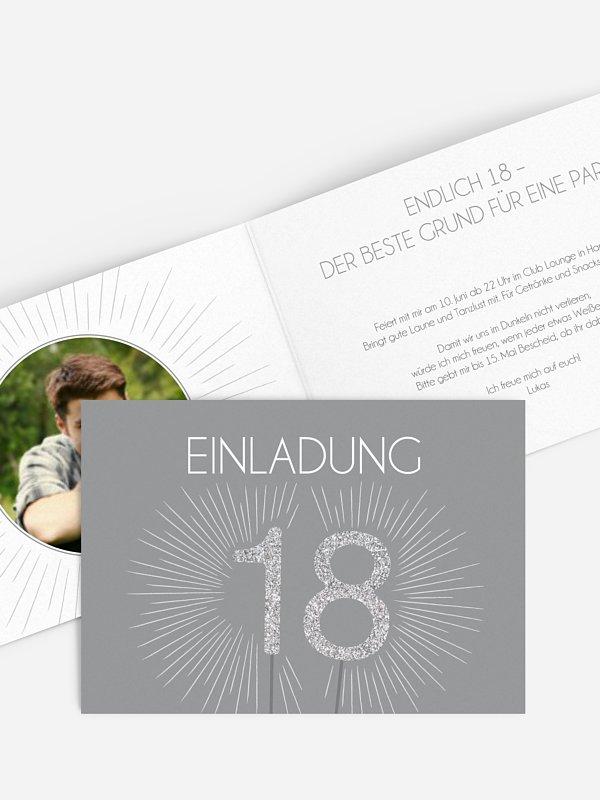 Einladung 18. Geburtstag Wunderkerze