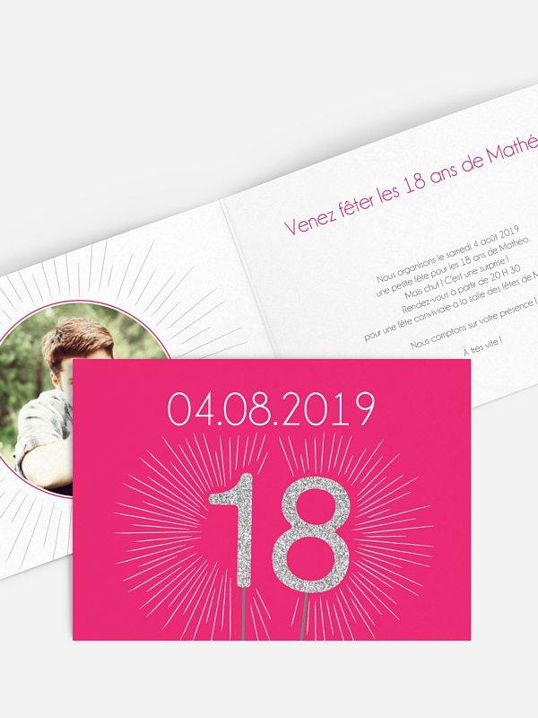invitation anniversaire 18 Bougie magique