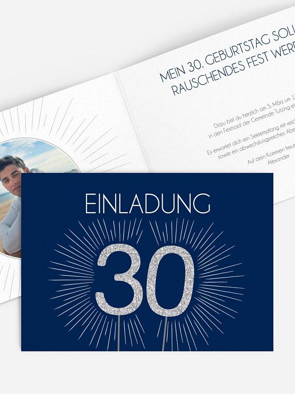 Einladung 30. Geburtstag Wunderkerze