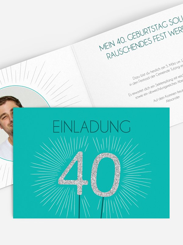 Einladung 40. Geburtstag Wunderkerze