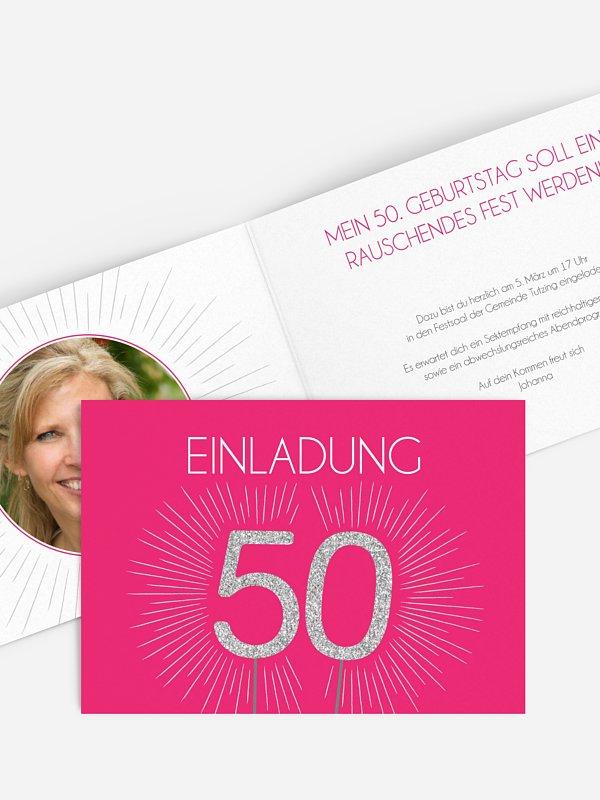 Einladung 50. Geburtstag Wunderkerze
