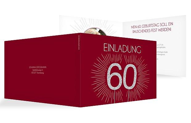 Einladungskarten 60 Geburtstag Wunderkerze
