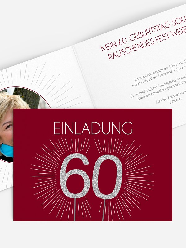 Einladung 60. Geburtstag Wunderkerze