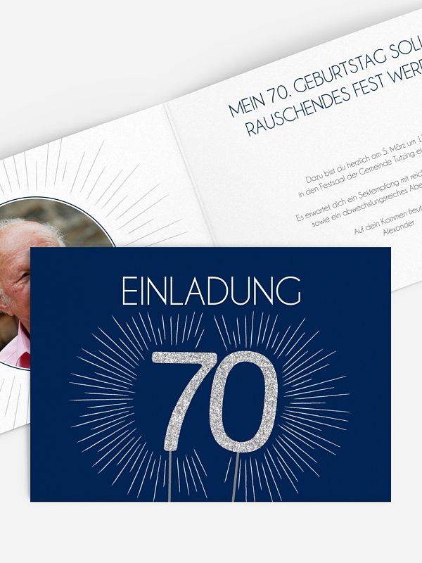 Einladung 70. Geburtstag Wunderkerze