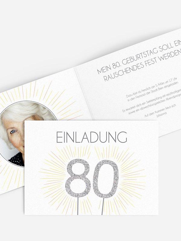 Einladung 80. Geburtstag Wunderkerze