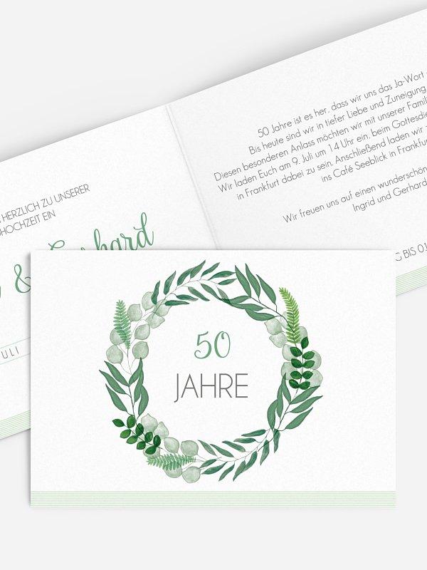 Einladung zur Goldenen Hochzeit Greenery