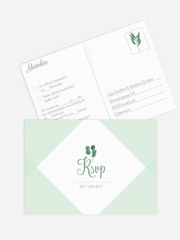 Antwortkarte Hochzeit Greenery