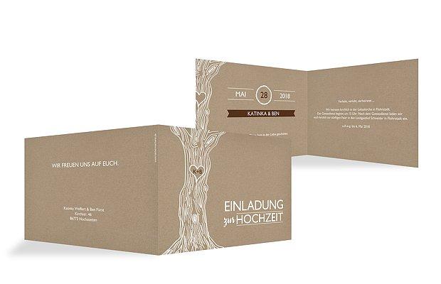 Hochzeitseinladung Rustic Tree Kraftpapier