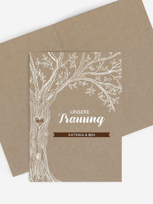 Kirchenheft Hochzeit Rustic Tree Kraftpapier