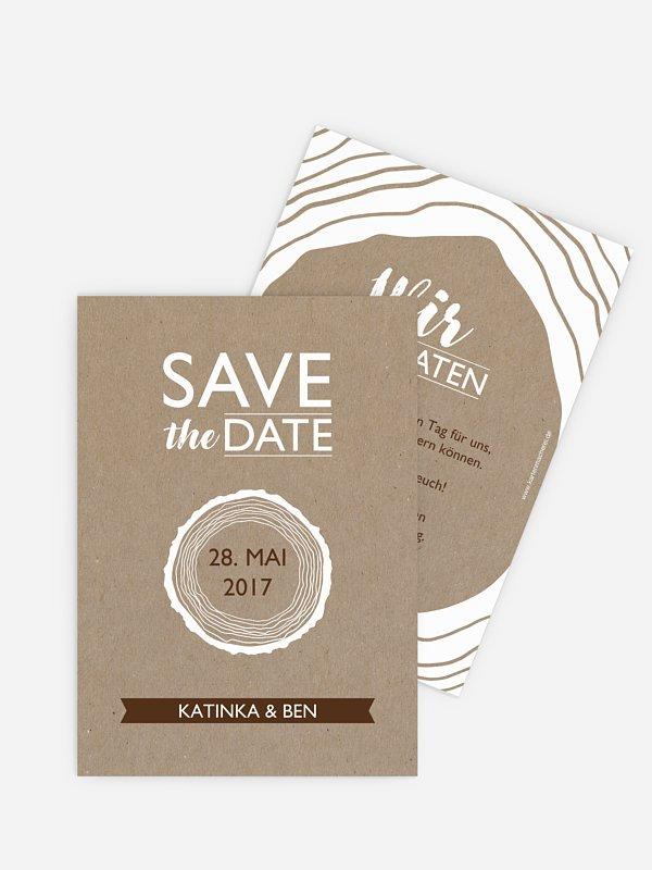 Save-the-Date Karte Rustic Tree Kraftpapier