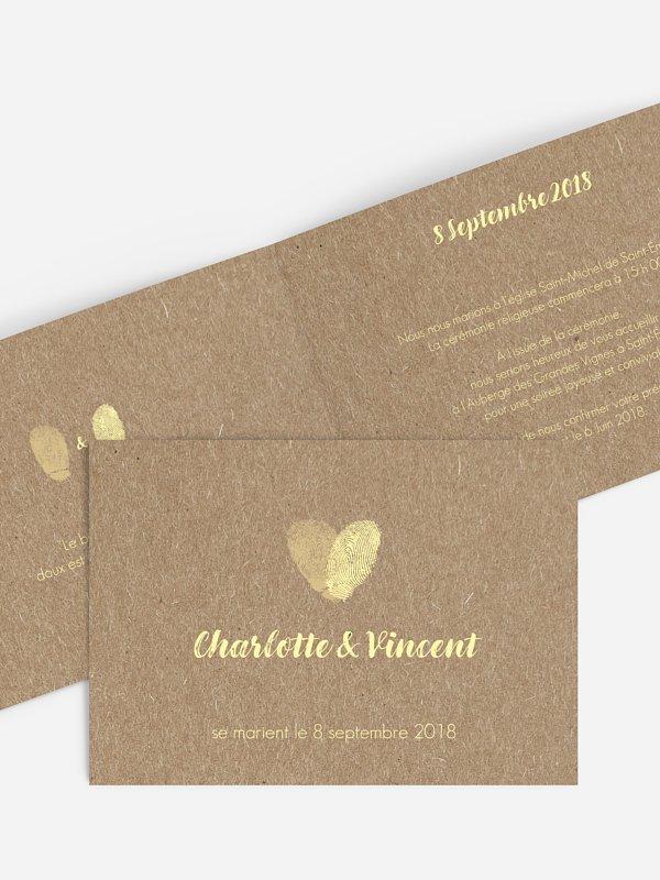Faire-part mariage Empreintes du coeur papier kraft