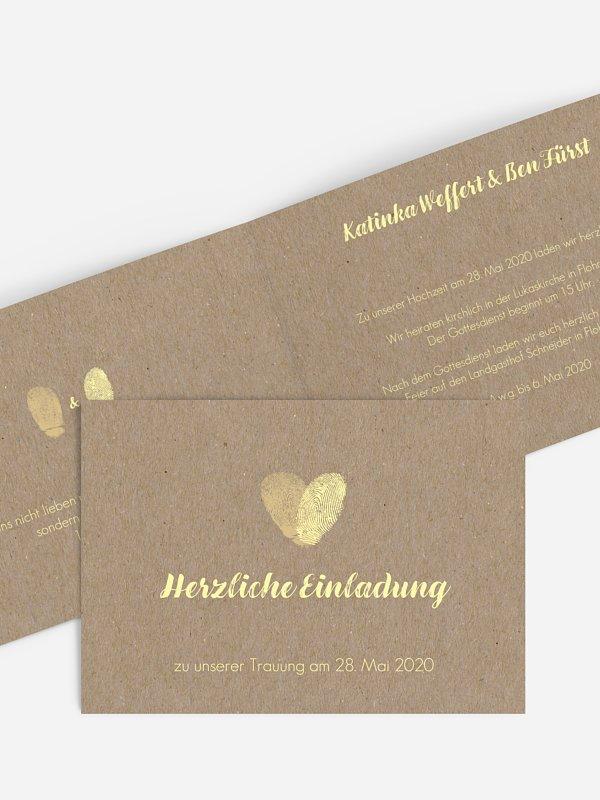 Hochzeitseinladung Fingerprint Kraftpapier