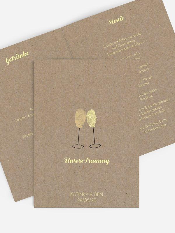 Menükarte Hochzeit Fingerprint Kraftpapier