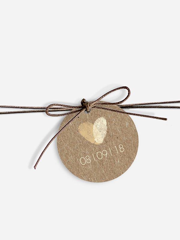 Étiquette avec ruban Empreintes du coeur papier kraft