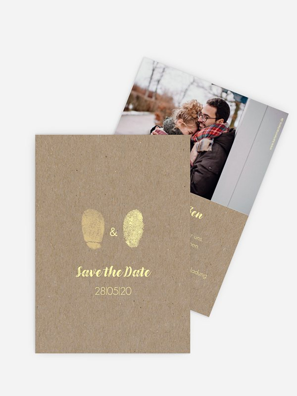 Save-the-Date Karte Fingerprint Kraftpapier