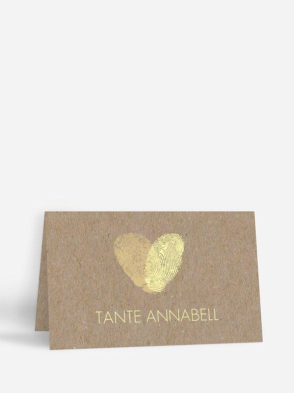 Tischkarte Hochzeit Fingerprint Kraftpapier