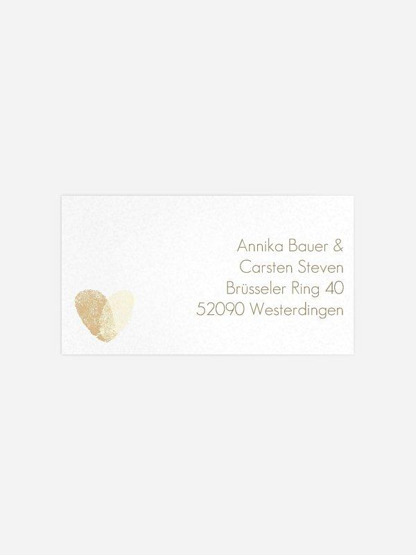 Empfängeraufkleber Hochzeit Fingerprint für Kraftpapier