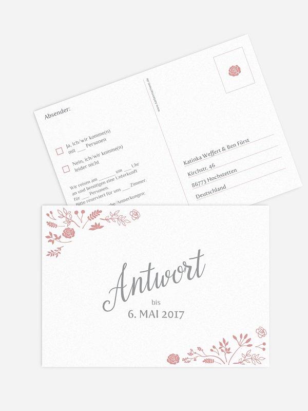Antwortkarte Hochzeit Romantic Vintage