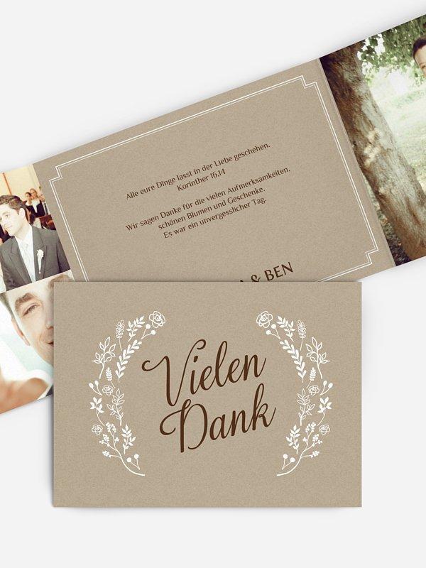 Dankeskarte Hochzeit Romantic Vintage