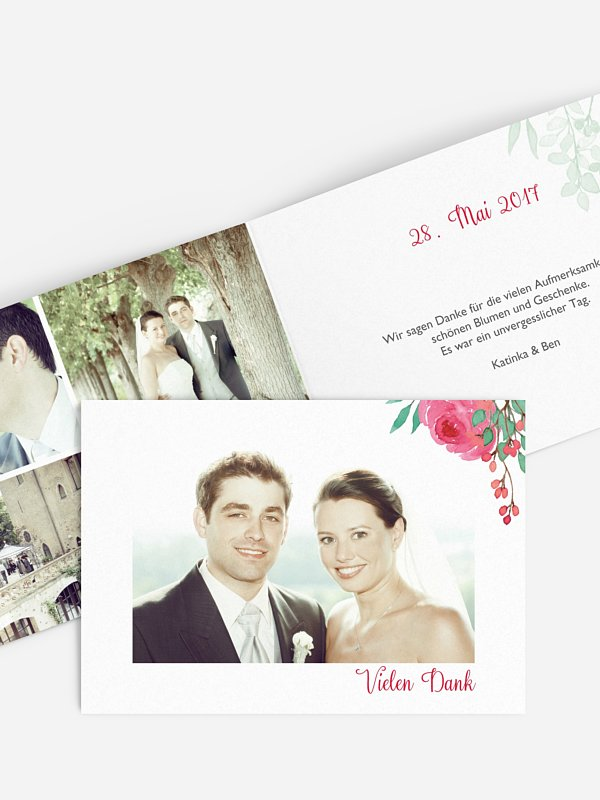 Dankeskarte Hochzeit Bloomy