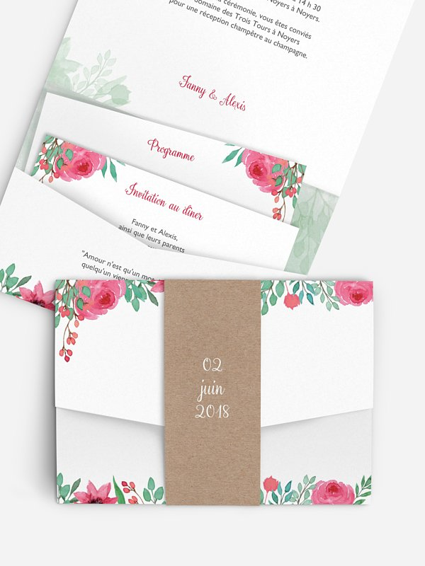 Faire-part mariage Jardin fleuri