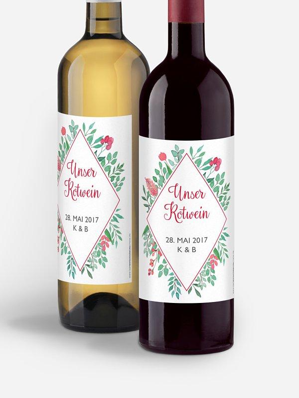 Flaschenetikett Hochzeit Bloomy