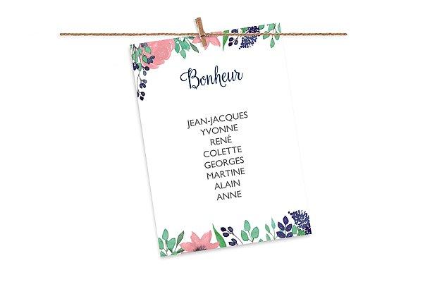 Cartons plan de table mariage Jardin fleuri