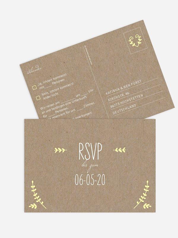 Antwortkarte Hochzeit Rustic Love Kraftpapier