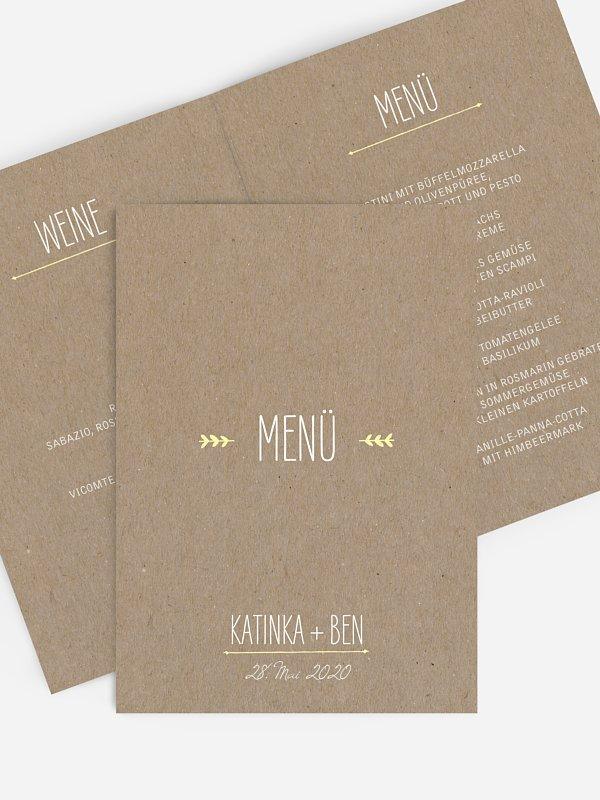 Menükarte Hochzeit Rustic Love Kraftpapier