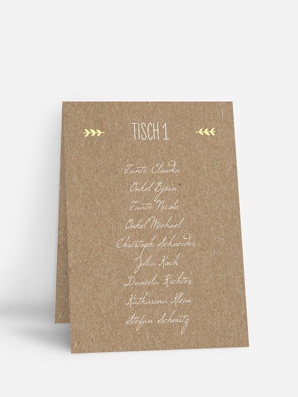 Gruppentischkarte Rustic Love für Kraftpapier
