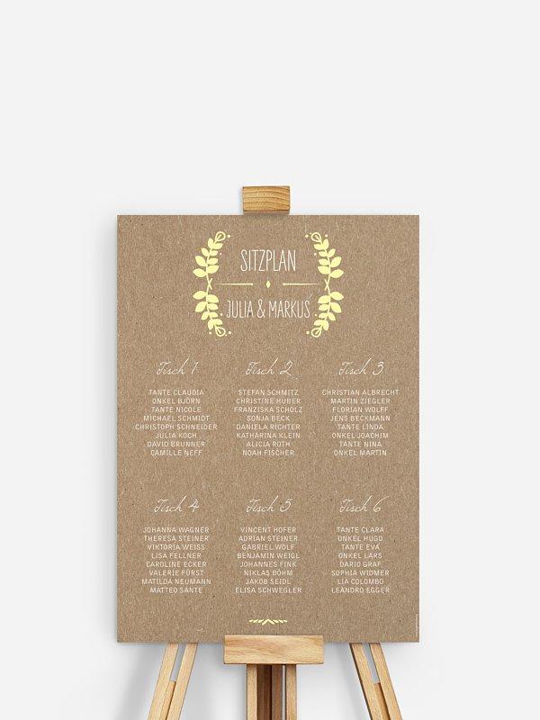 Sitzplan Plakat Rustic Love Kraftpapier