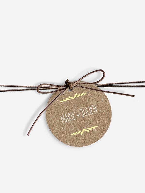 Étiquette avec ruban Rustic Love papier kraft