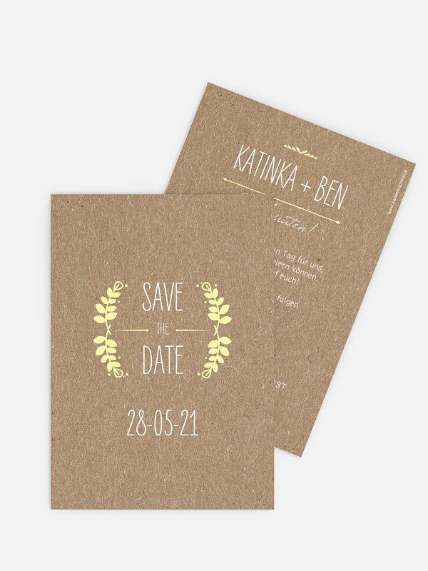 Save-the-Date Karte Rustic Love für Kraftpapier