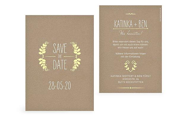 Save-the-Date Karte Rustic Love Kraftpapier