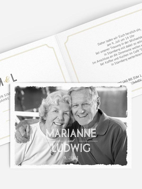 Einladung zur Goldenen Hochzeit Vintage Photo