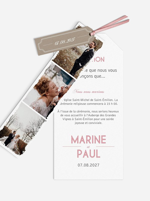 Faire-part mariage Vintage Photo