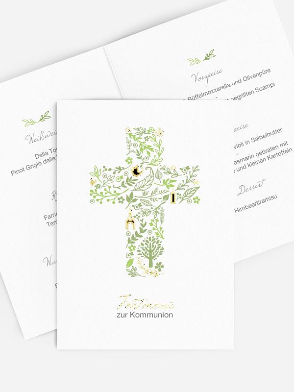 Menükarte Kommunion Florale Botschaft