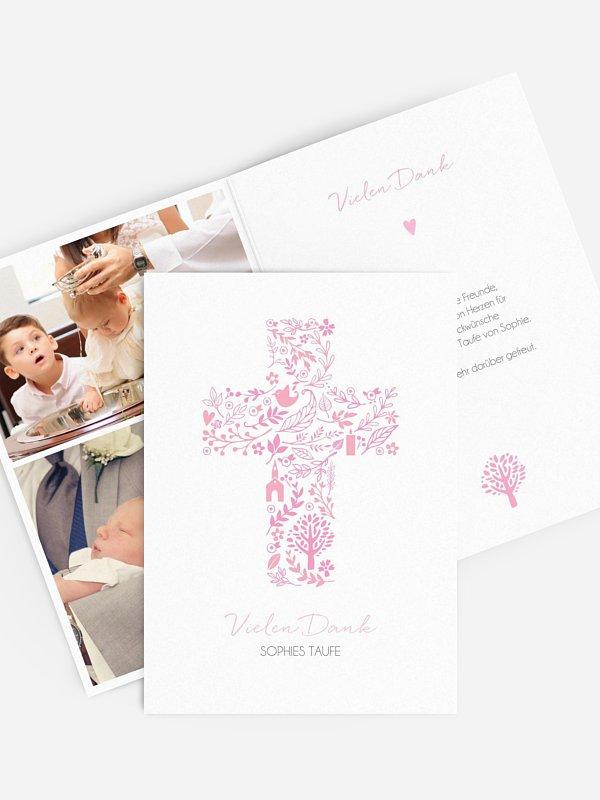 Dankeskarte Taufe Florale Botschaft