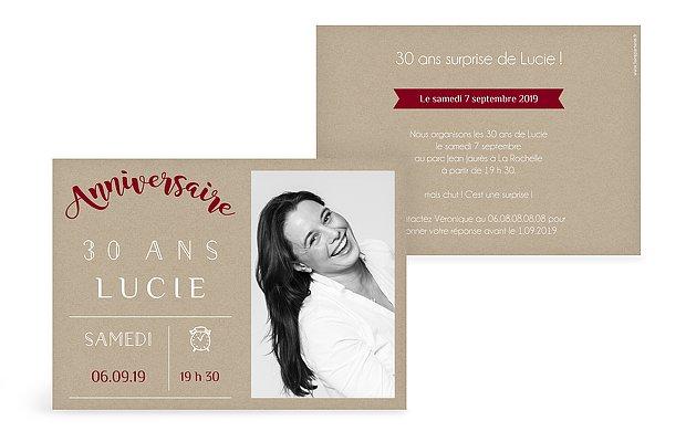 invitation anniversaire Pictos vintage