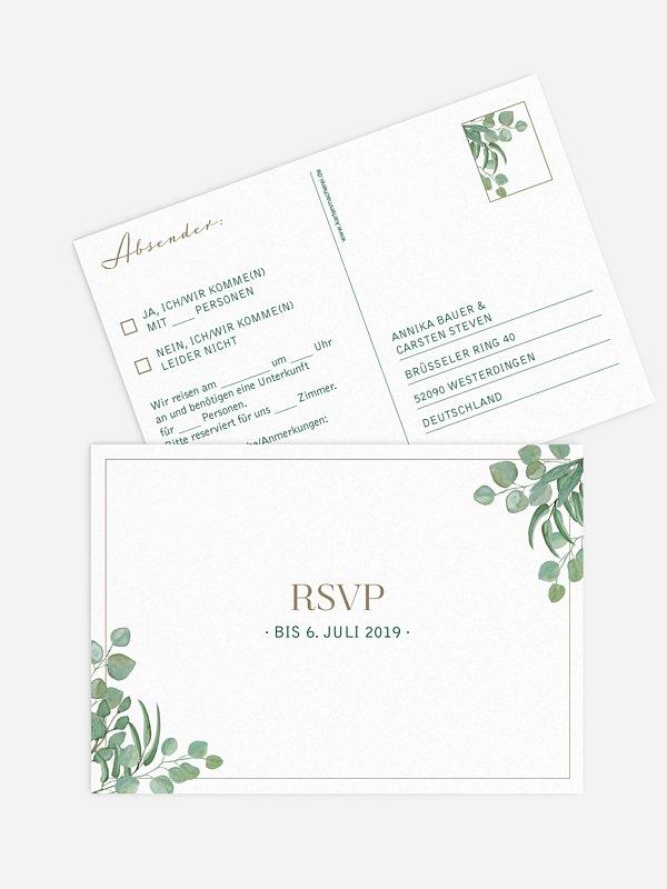 Antwortkarte Hochzeit Eucalyptus