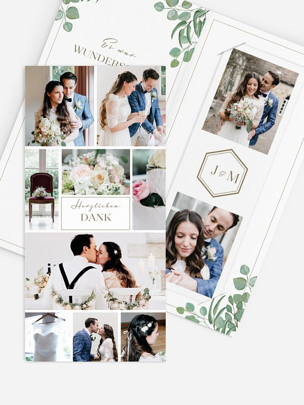 Dankeskarte Hochzeit Eucalyptus