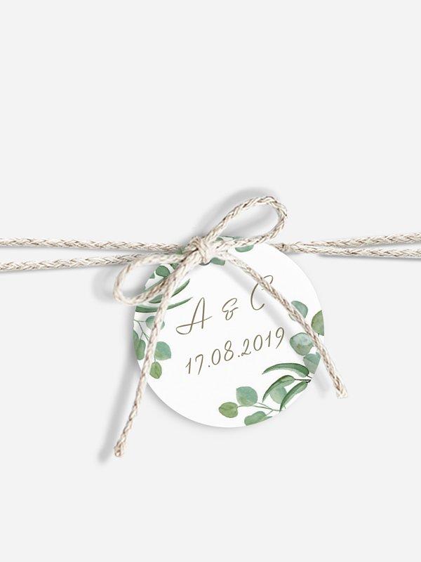 Étiquette avec ruban Eucalyptus