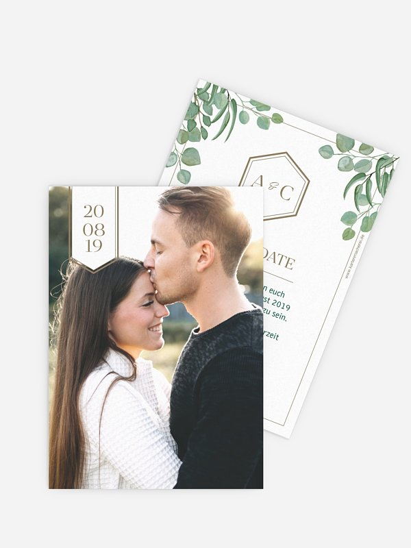 Save-the-Date Karte Eucalyptus